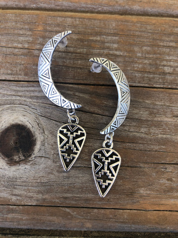 Aztec Moon Earrings
