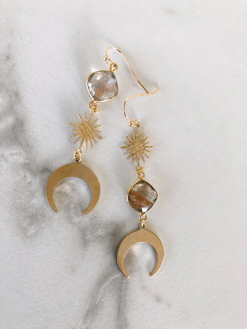 Celestial Copper Moon Earrings