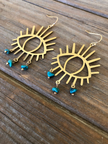 Turquoise Seeing Eye Earrings