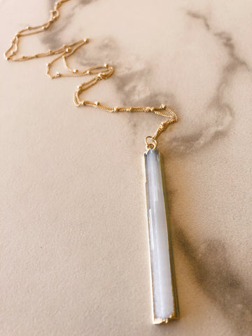 Long Selenite 14k gold filled Necklace