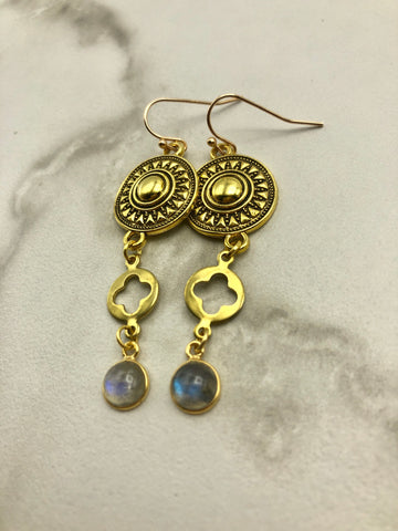 Long Labradorite Earrings