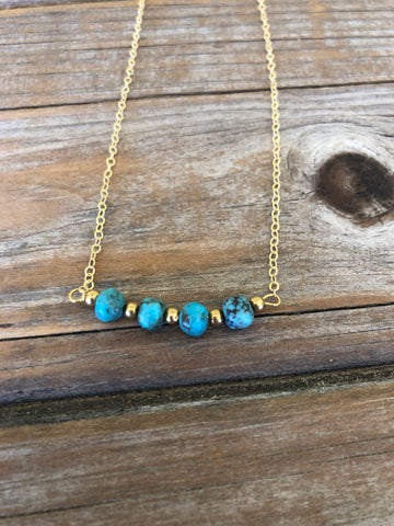 Turquoise and Brass 14k Necklace
