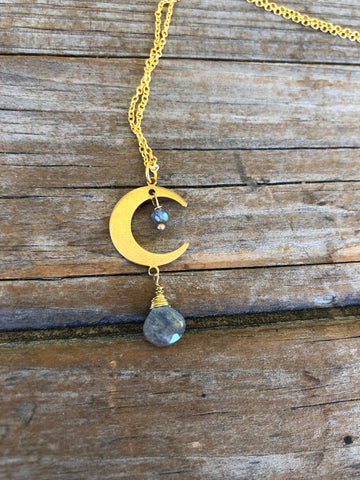 18k Long Brass Labradorite Moon Necklace