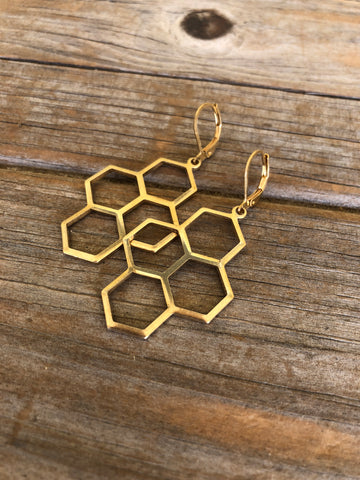 Brass Honeycomb Earrings
