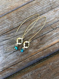 Brass Turquoise Quatrefoil Earrings