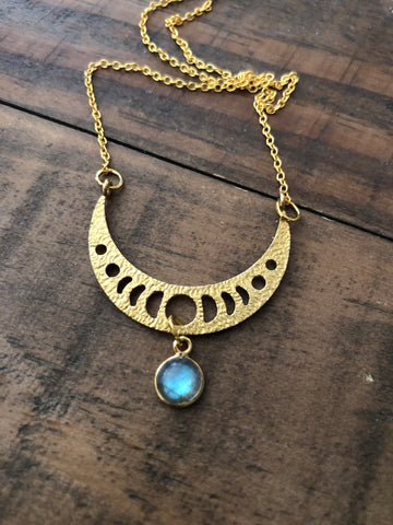Long Labradorite Moon Phase Necklace