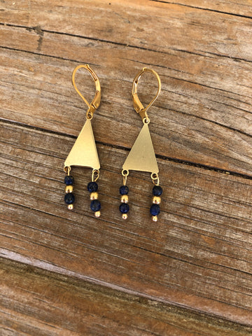 Lapis Lazuli Brass Triangle Earrings