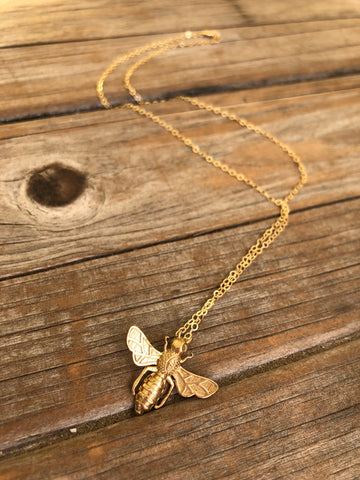 Brass Bee on a 14k gold-filled chain