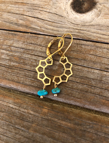Turquoise and Brass Honeycomb Earrings