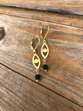 Onyx Eye Brass Earrings