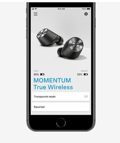 Momentum True Wireless app, battery levels