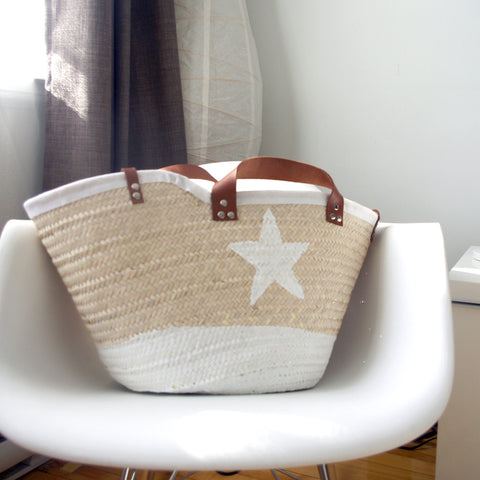Basket Adel wicker basket and handle in leather and chain  white star|Rose gazelle