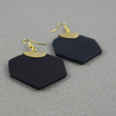 Black leather Léanne Earrings | Boucles d'oreilles Léanne cuir noir