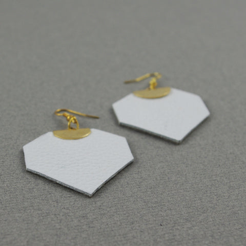 White Leather Léanne Earrings | Boucles d'oreilles Léanne blanche