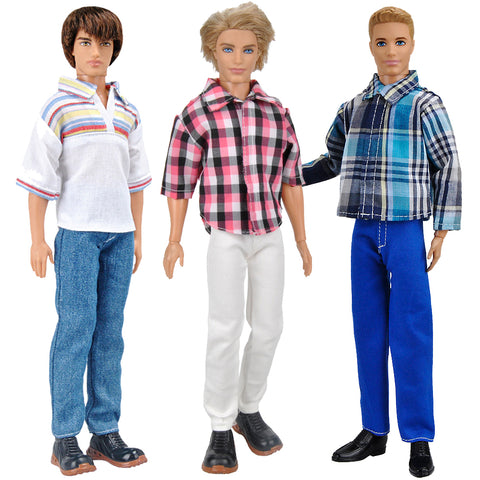 E-TING 3 Sets Casual Wear Shirt Suit Jeans Pants Trousers Doll Clothes for Barbie Fashionistas Ken Doll (#1) - E-TING