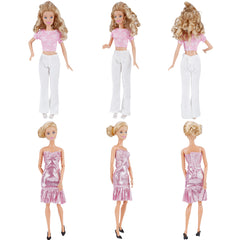 E-TING Lot 15 Items = 5 Sets Fashion Casual Wear Clothes Outfit Party Dress with 10 Pair Shoes for Girl Doll - E-TING