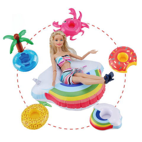 "E-TING Fashionistas 9PCS Doll Clothing Pack, 3 Sets 11.5"" Girl Dolls Swimsuits with 3 Pairs Shoes and 3-Pieces Cute Swimming Flotador Random Style"