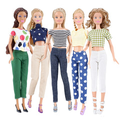 E-TING 5 Set Doll Clothes Casual Wear Outfit 5 Tops 5 Trousers Pants for 11.5″ Girl Doll Gift (Style B) - E-TING