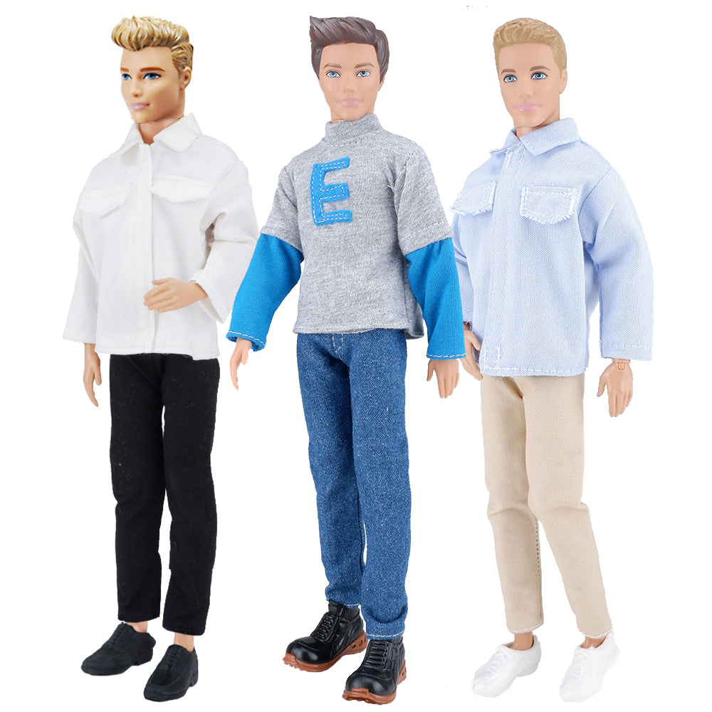 E-TING 3 Sets Casual Wear Shirt Doll Clothes Jacket Pants Outfits for 12 inches boy Dolls Casual Shirt - E-TING