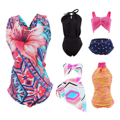 E-TING 5 Sets Beach Bikini Swimsuit Bathing Doll Clothes One-Piece Swimwear for 11.5 Inch Girl Dolls (Style#C) - E-TING