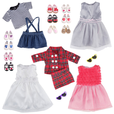 E-TING 5 Set Dolls Outfits Clothes Dress and 2 Pairs Shoes fit for 18 inch Dolls American Girl Dolls - E-TING