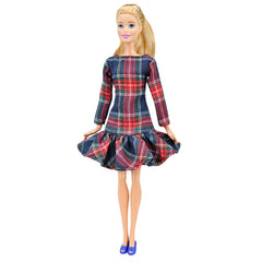 E-TING Colorful Pleated Plaid Dress Ruffles Checkered Long Bow Scottish Style ClothingFor Barbie Doll - E-TING
