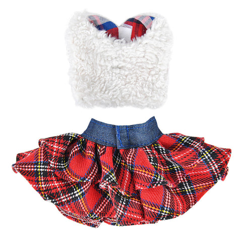 E-TING Claus Couture Clothing for Elf on the Shelf (Fluffy Vest+ Plaid Skirt) Doll is not included - E-TING