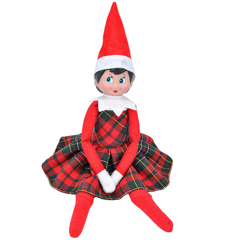 E-TING Claus Couture Clothing for Elf on the Shelf (Red-Green Plaid Dress) Doll is not included … - E-TING