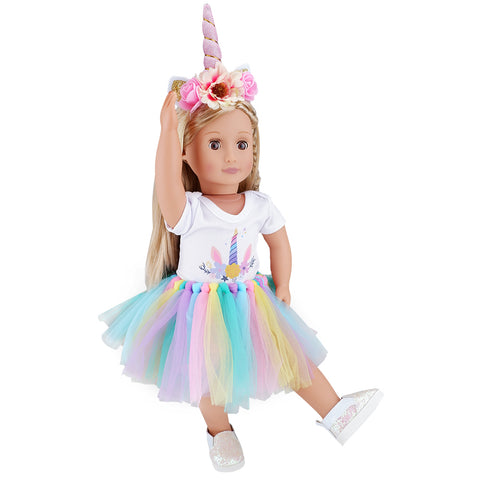 E-TING Dolls Unicorn Clothes, Headband, Tutu fits for 18 inch Dolls Like American Girl, Our Generation,My Life,Adora,Gotz Doll Accessories Costume Outfits - E-TING