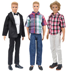 New E-TING 3 Sets Casual Wear Plaid Shirt T-shirt Jeans Pants Trousers Doll Clothes for Barbie Fashionistas Ken Doll (#C) … - E-TING