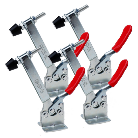 E-TING 4Pcs Hand Tool Toggle Clamp 201B-Upgrade Horizontal Clamp Antislip Quick Release Tool (Longer Toggle Clamp)
