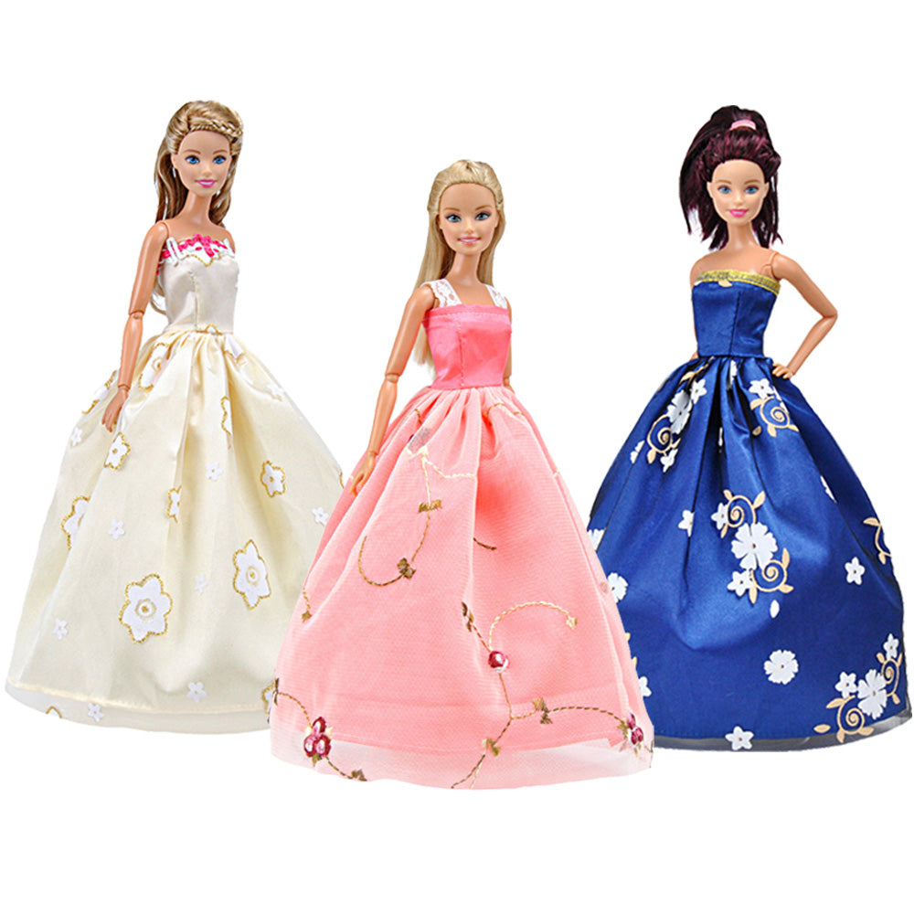 E-TING Beautiful Handmade Doll Clothes Evening Dress Princess Gown Party Outfit for Girl Doll (Lot 3 Color 2#) - E-TING