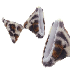 E-TING Cat Fox Fur Ears Hair Clip with Headband Hairband Anime Party Costume Cosplay Accessories (Cute Leopard)