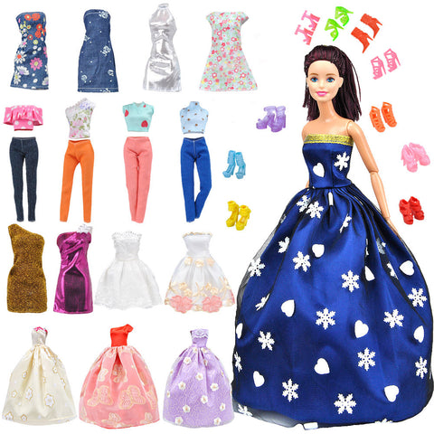 E-TING Lot 15 Items = 5 Sets Fashion Handmade Clothes Dress + 10 Pair Shoes for Girl Doll Xmas Random Style(Clothes+Wedding Dress + Short Skirt) - E-TING