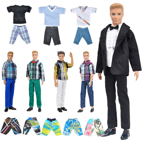 E-TING Lot 10 Items = 5 Sets Fashion Casual Wear Clothes/Outfit with 5 Pair Shoes for boy Doll Random Style (Casual Wear Clothes + Black Suit + Swimwear) - E-TING