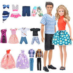 E-TING Lot 12 Items = Fashion Dress Swimsuit Casual Outfit Suit Couple Dating Clothing Accessories Shoes for Girl Boy Dolls Random Style (Casual Wear Clothes + Dress + Swimwear) - E-TING