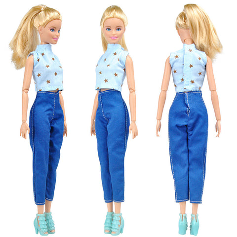 E-TING 5 Set Doll Clothes Outfit 5 Tops 5 Trousers Pants for Barbie Doll Random Style - E-TING