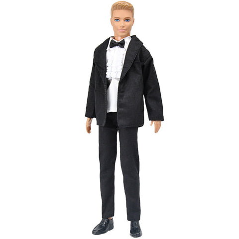 E-TING Black Tux Formal Suit White Shirt Trousers Doll Clothes For Barbie Ken - E-TING