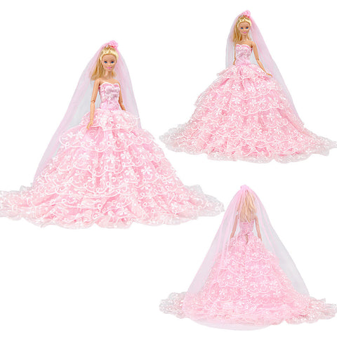 E-TING Pink Gorgeous Wedding Dress Princess Gown Clothes with Veil for 11.5 inches Dolls - E-TING
