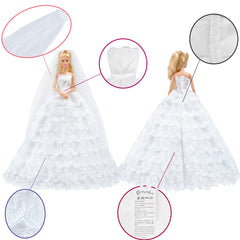 E-TING White Gorgeous Wedding Dress Princess Gown Clothes with Veil for Barbie Doll … - E-TING