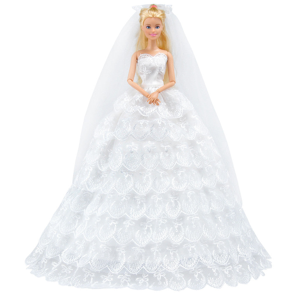E TING White Gorgeous Wedding Dress Princess Gown Clothes With Veil For Barbie Doll