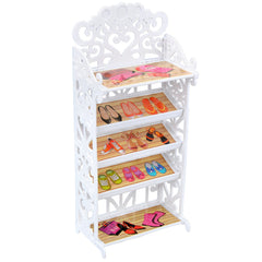 E-TING Doll Shoes Rack Shoes Shelf Accessory with 20 Pairs High Heel Shoes Boots for Girl Doll Playset Accessories - E-TING