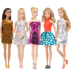 E-TING 5pcs Fashion Mini Dress For Barbie Doll Handmade Short Party Dress Clothes - E-TING