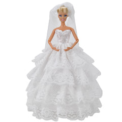 E-TING Handmade Wedding Evening Party Dress Clothes Gown Veil for Girl Dolls … (White) - E-TING