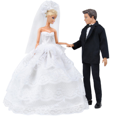 E-TING Beautiful Wedding Dress Party Ballgown Clothes + Formal Suit Outfit For Barbie Ken Doll - E-TING