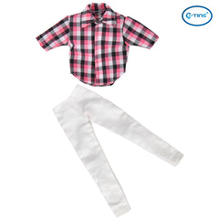 E-TING Red Checked Shirt Blouse PantsTrousers Doll Clothes For Barbie Ken Dolls - E-TING