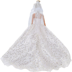 E-TING Handmade Clothes 1 pcs Party Gown Dresses White Sequined Long Tail Wedding Dress for Girl Dolls Gift - E-TING