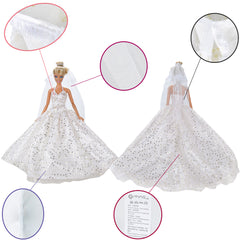 E-TING 2 pcs Beautiful Bride Clothing with Veil Party Ball Dresses for Girl Dolls - E-TING