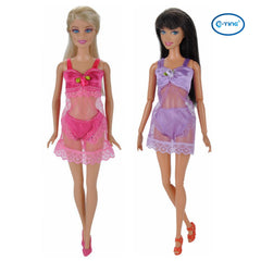 E-TING 6 Set Fashion Sexy Pajamas Underwear Lingerie Bra Lace Dress Clothes For Girl Dolls - E-TING