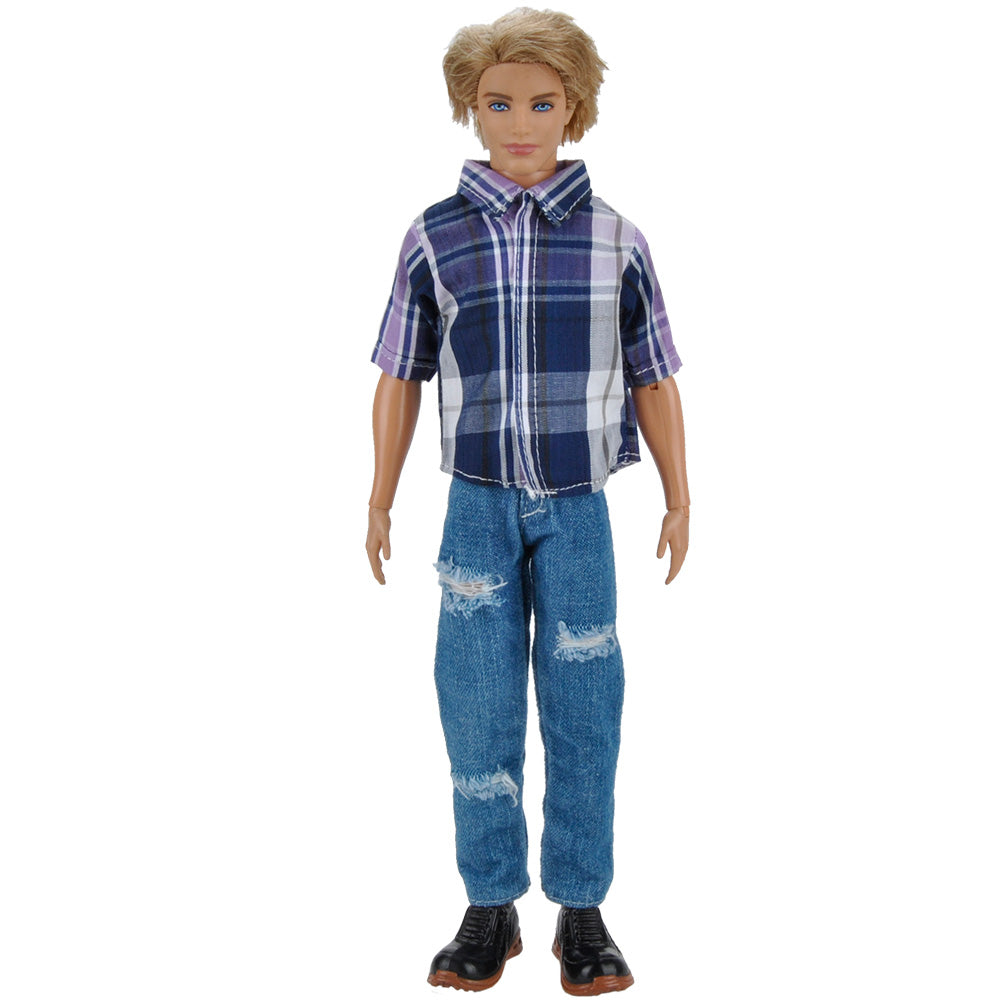 E-TING 1 Set = 2 PCS Casual Wear T-shirt Jeans Daily Pants Trousers Doll Clothes for Fashionistas Barbie Ken Doll (004#PB) … - E-TING